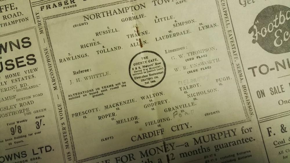 Northampton Town vs Cardiff City Programme 1937