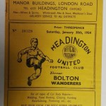Headington United vs Bolton FA Cup 1954 Programme front