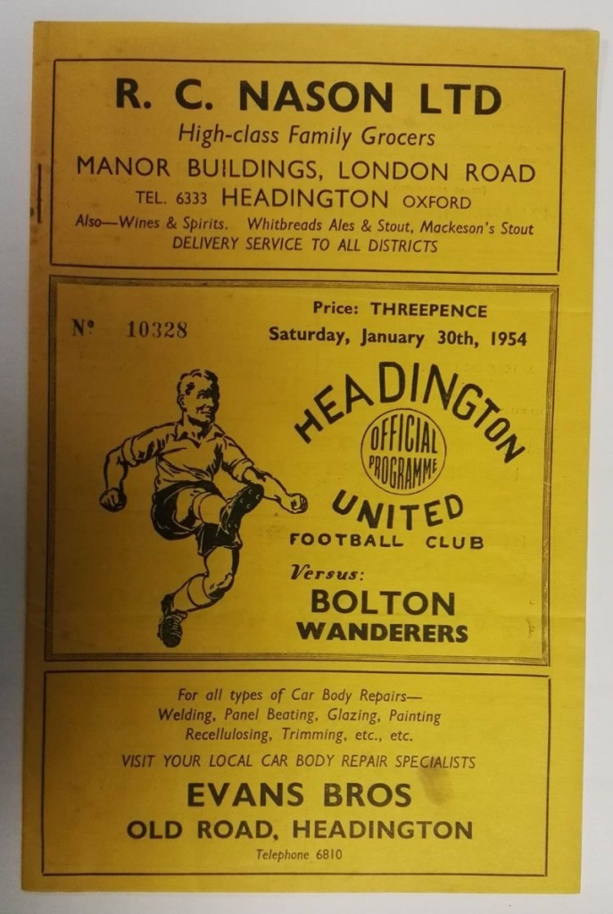 Headington United vs Bolton FA Cup 1954 Programme