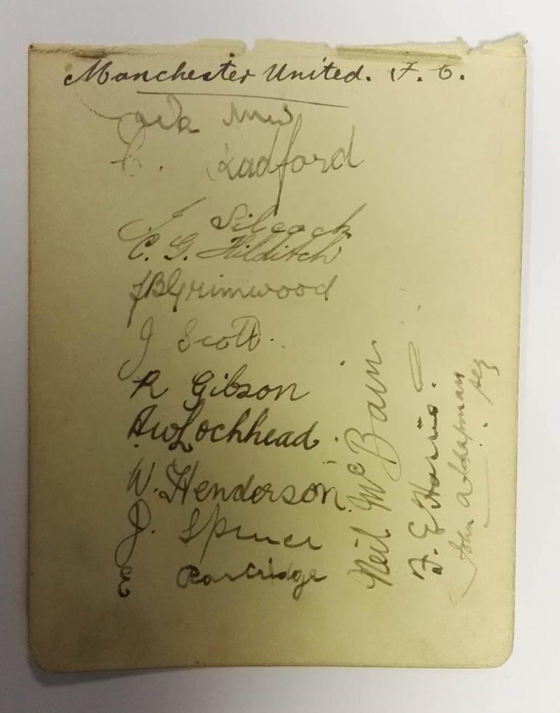 Manchester United Autograph Card December 1921