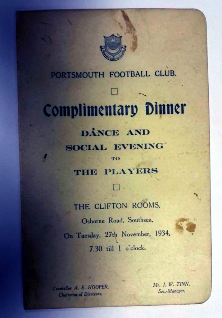 Portsmouth FC Signed Dinner Menu 1934