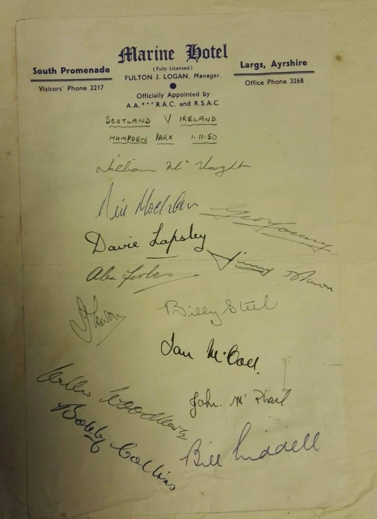 Scotland vs Ireland 1950 Signature Sheet