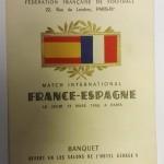 France vs Spain 1958 Signed Menu front