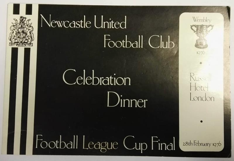 Newcastle United League Cup Final Dinner Menu 1976