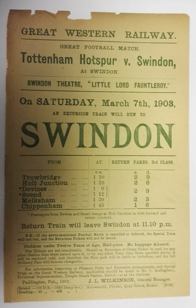 Tottenham vs Swindon GWR Poster 1903