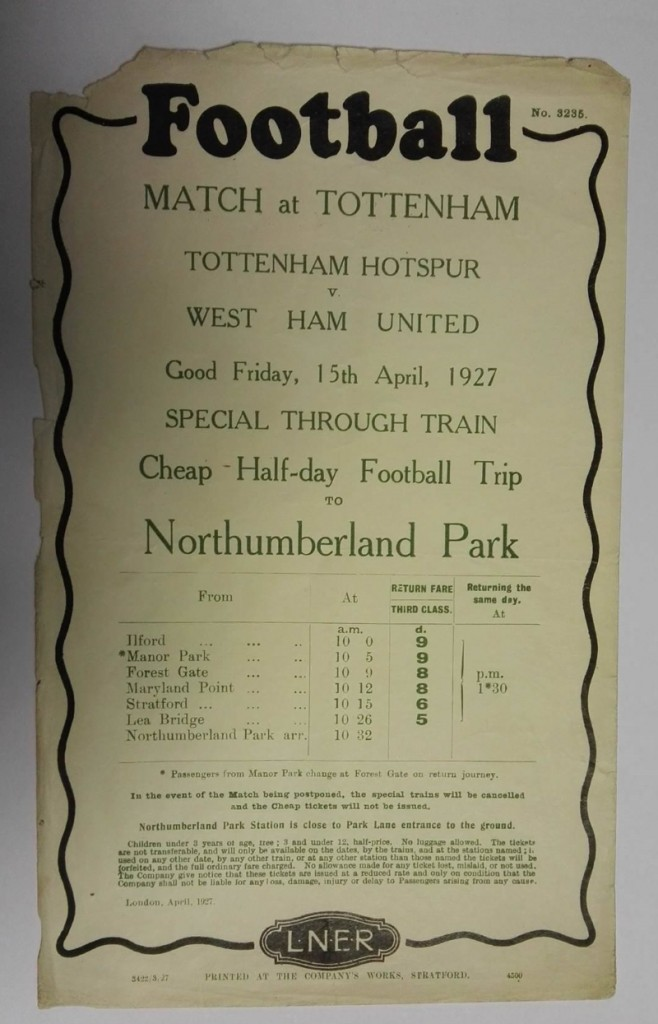 Tottenham vs West Ham Railway Poster 1927