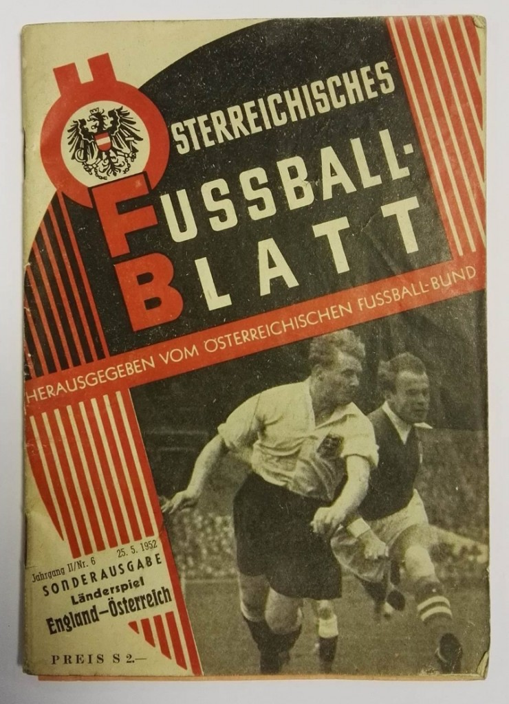 Austria vs England Ticket & Programme May 1952