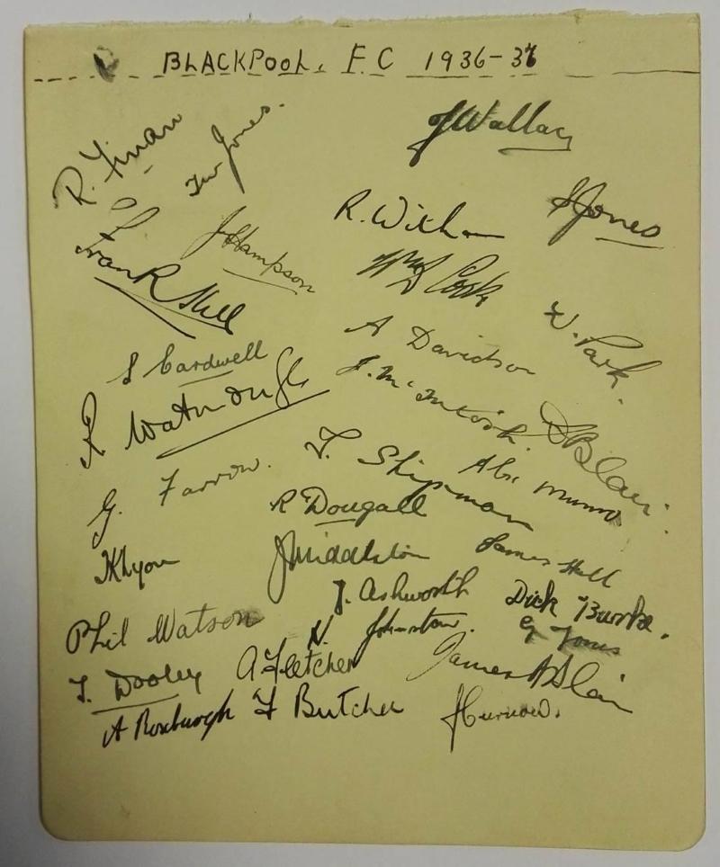 Blackpool FC Autographs 1936/37