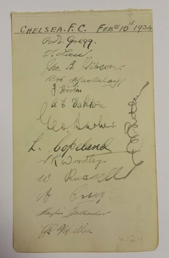 Chelsea FC Autographs February 1934