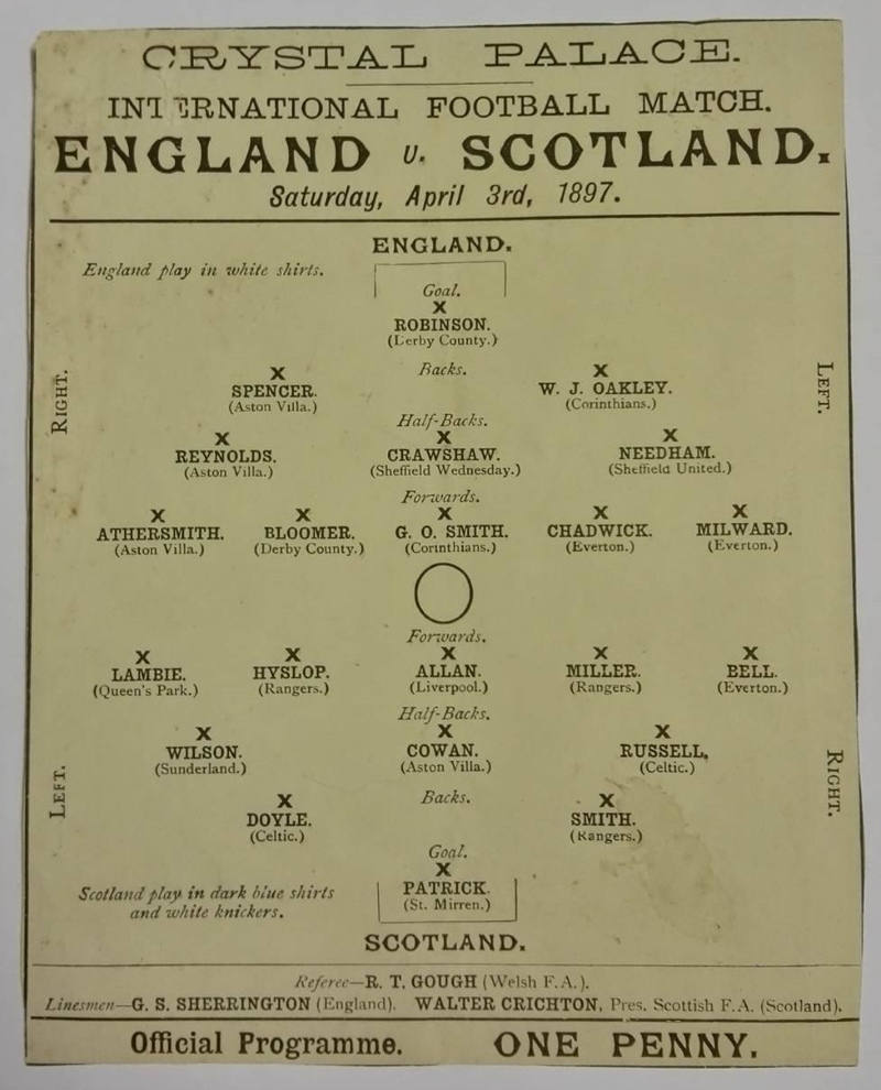 England vs Scotland Programme April 1897