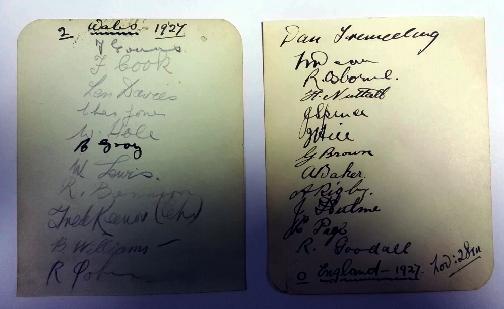 England vs Wales Autographs November 1927