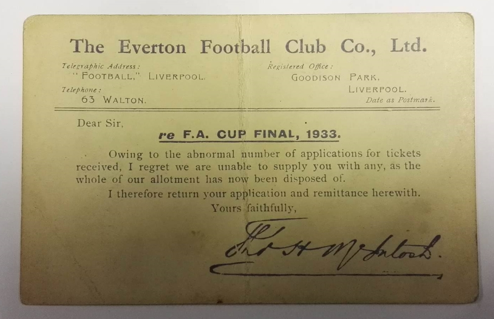 Everton FA Cup Final 1933 Ticket Rejection Postcard