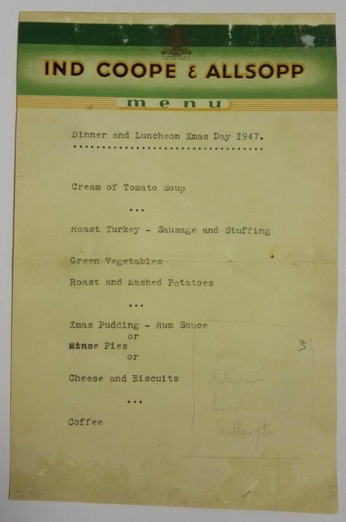 Nottingham Forest Signed Christmas Day 1947 Menu