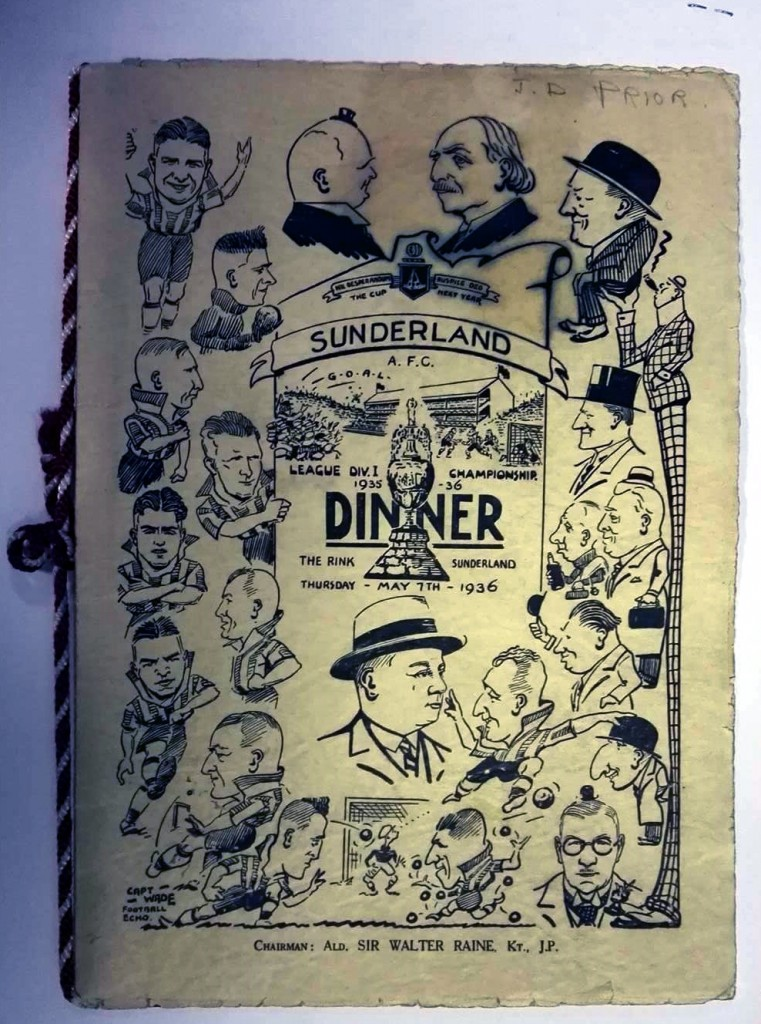 Sunderland AFC Signed Dinner Menu 1936