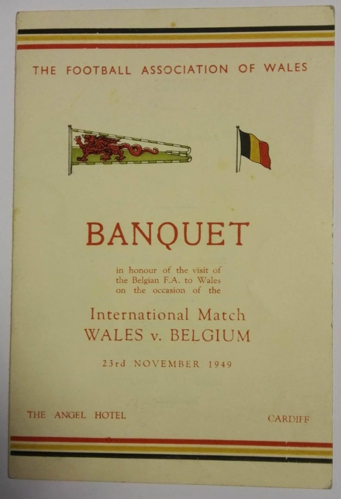 Wales vs Belgium Signed Banquet Menu 1949