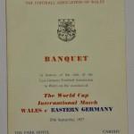 Wales vs East Germany Signed Menu September 1957 Front