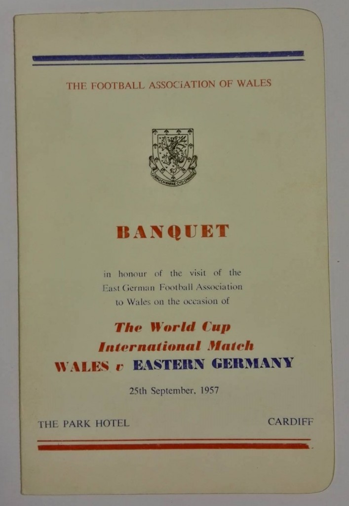 Wales vs East Germany Signed Menu September 1957