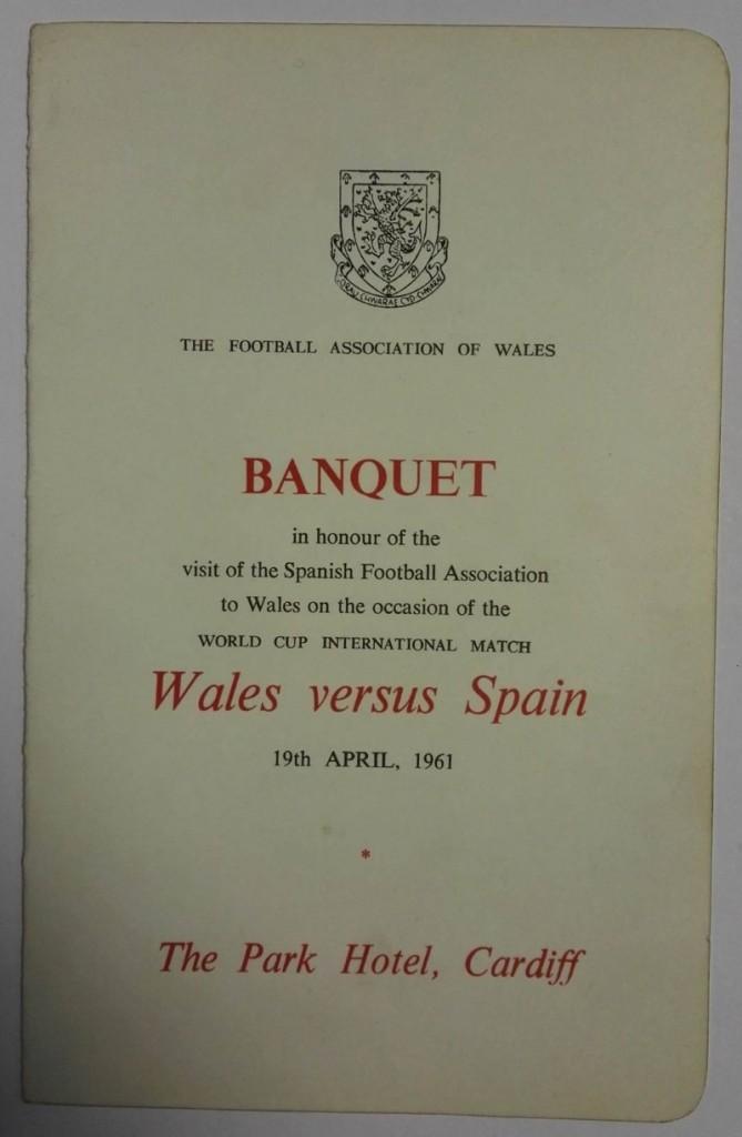 Wales vs Spain Signed Menu April 1961