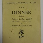 Arsenal Signed Dinner Menu April 1949 Front