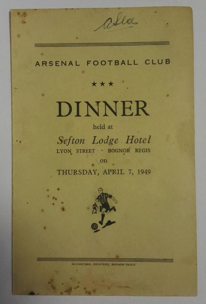 Arsenal Signed Dinner Menu April 1949