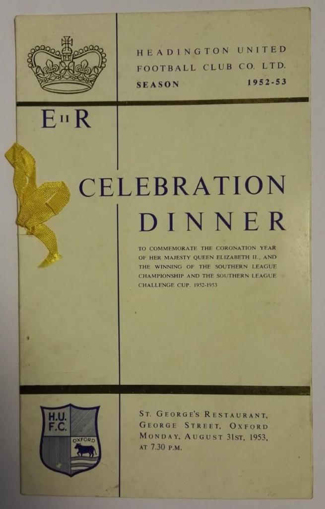 Headington United League & Cup Winners Dinner Menu 1953