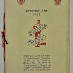 Les Aiglons vs Wolves Souvenir Menu 1933 Front