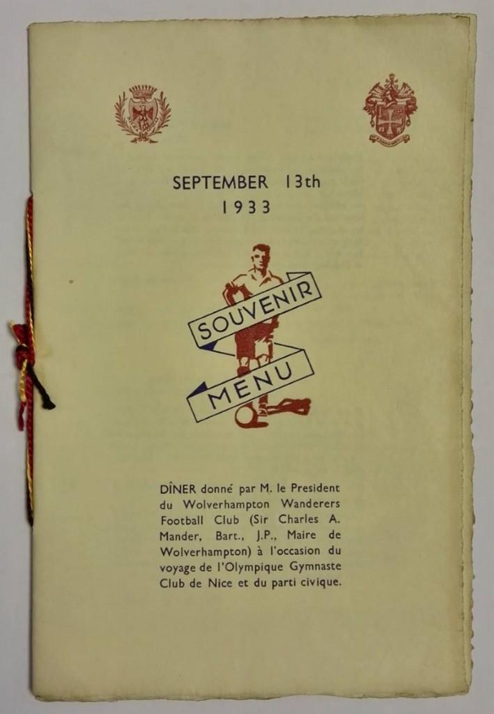 Les Aiglons vs Wolves Souvenir Menu 1933