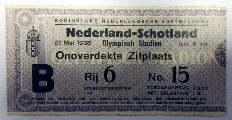 Netherlands vs Scotland Ticket May 1938