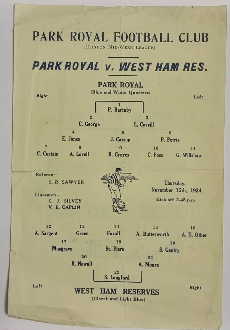 Park Royal FC programme collector