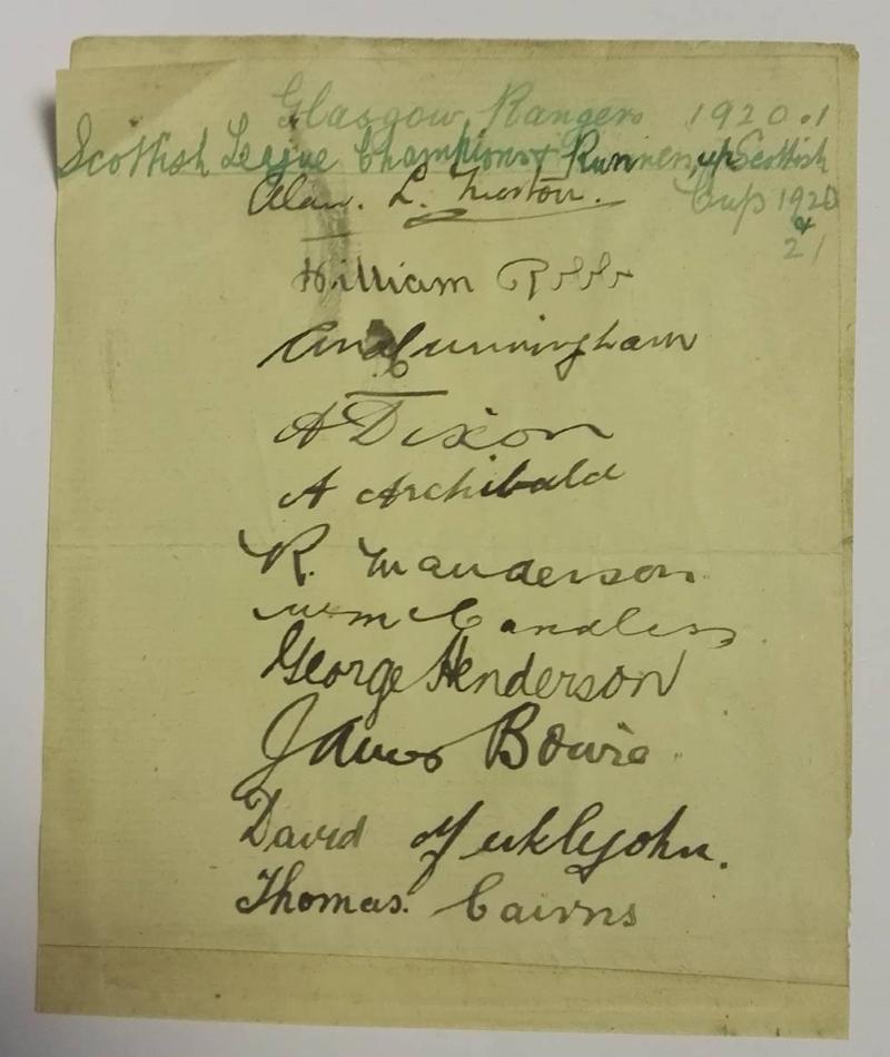 Rangers FC Autograph Card 1920/21