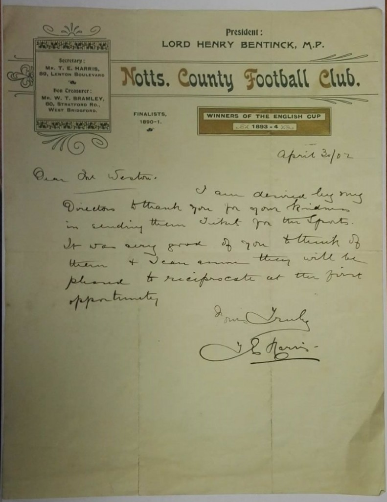 Signed Notts County Letterhead April 1902