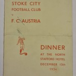 Stoke City vs FC Austria Signed Menu 1934