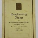 Wolves Division II Winner Menu 1932 Signed Front
