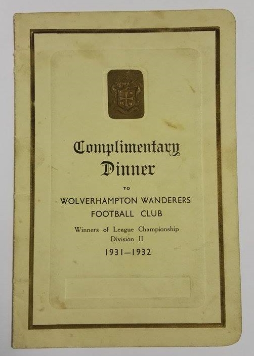 Wolves Division II Winners Menu 1932 Signed