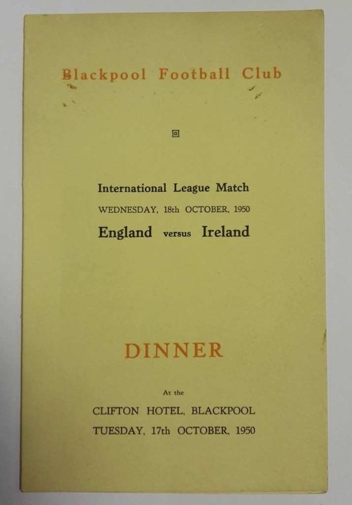 England vs Ireland Menu October 1950