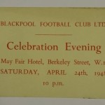 FA Cup Final 1948 Blackpool Dinner Ticket
