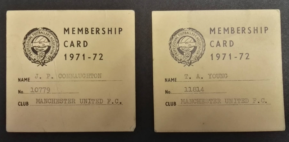 Manchester United PFA Membership Cards 1971/72
