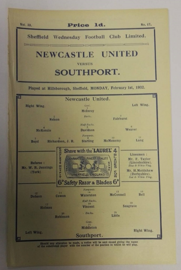 Newcastle United vs Southport February 1932 Official Programme