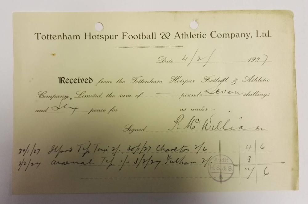 Peter McWilliam Signed Tottenham Expenses Receipt 1927