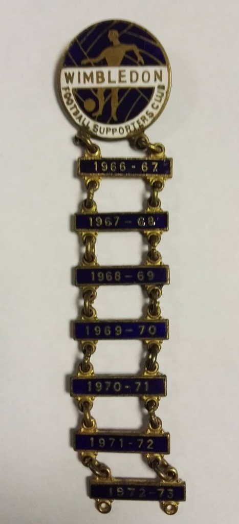 Wimbledon Supporters Club Badge 1966 - 72