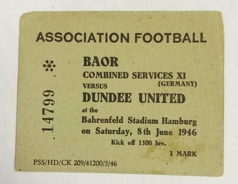 BAOR vs Dundee United Ticket 1946