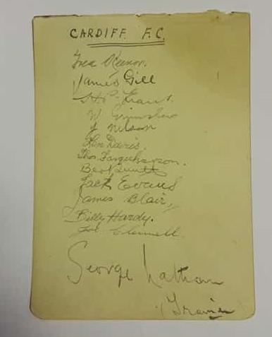 Cardiff City Autograph Card November 1923