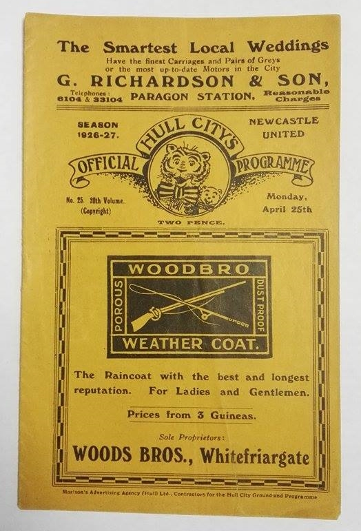 Hull City vs Newcastle United Programme April 1927