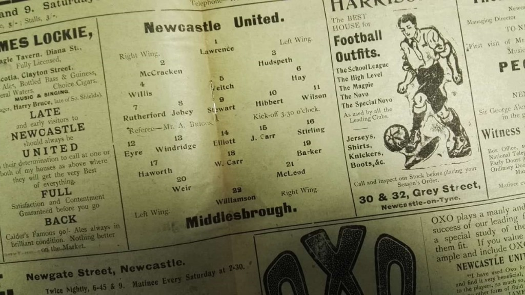 Newcastle United vs Middlesbrough Official Programme March 1912