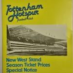 Tottenham Hotspur New West Stand Season Ticket Price Brochure Front