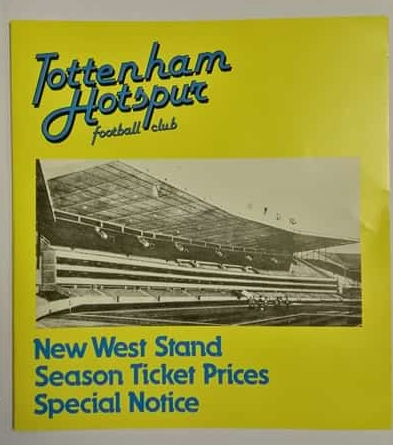 Tottenham Hotspur New West Stand Season Ticket Price Brochure