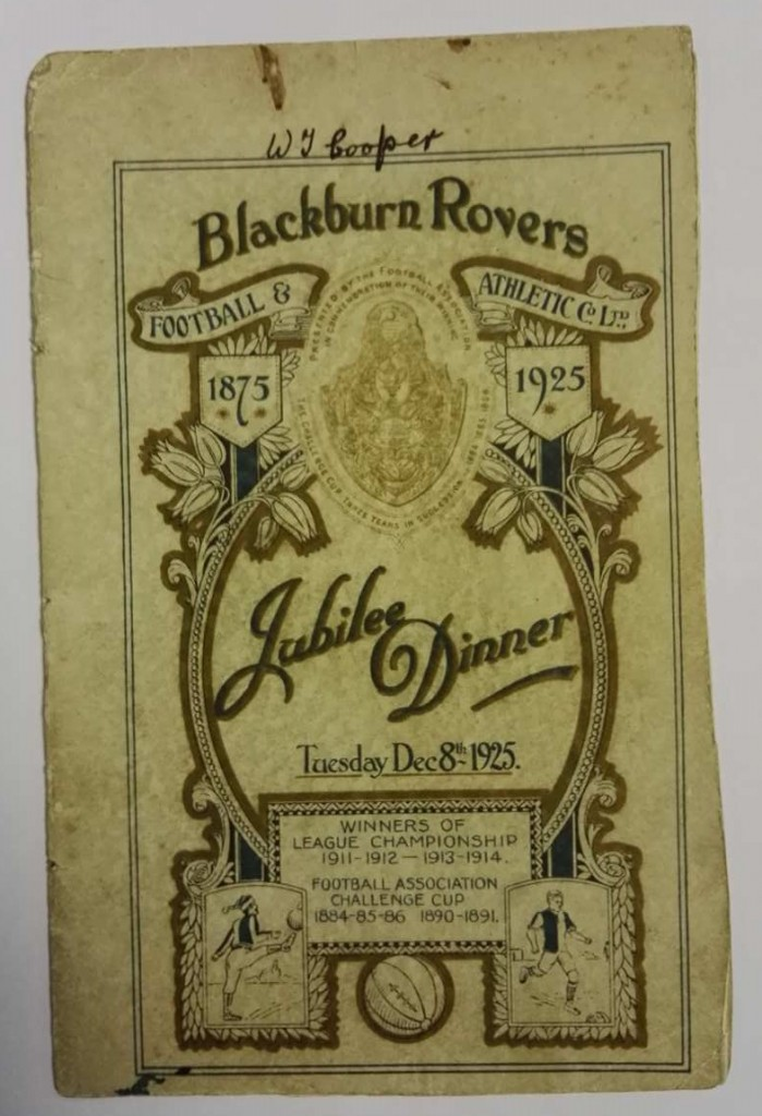 Blackburn Rovers Jubilee Dinner Signed Menu 1925
