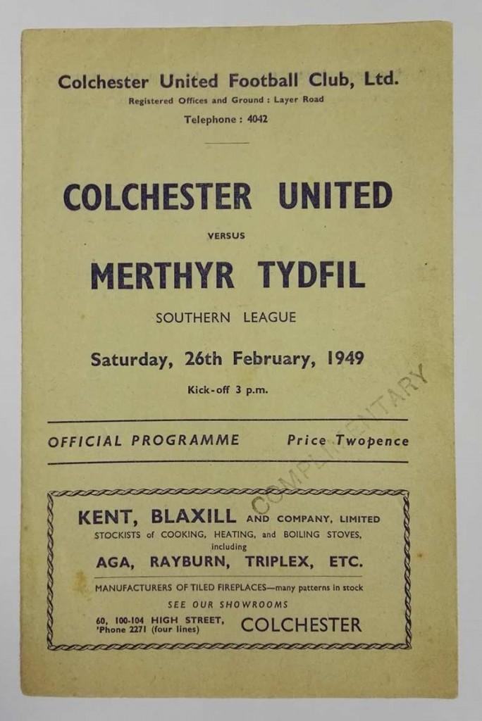 Colchester United vs Merthyr Tydfil Signed Programme 1949