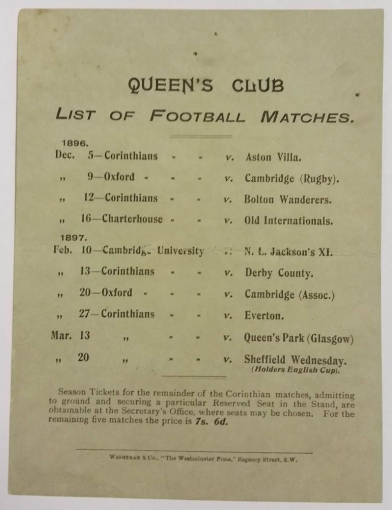 Corinthians vs Aston Villa Match Card 1893 rear