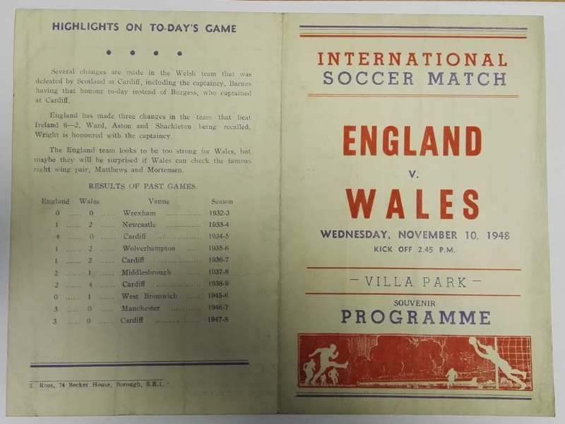 England vs Wales Signed Programme 1948